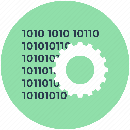 binary, coding, cog, data management, programming icon