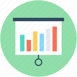 business analytics, flip chart, graph analysis, statistics, wall chart icon