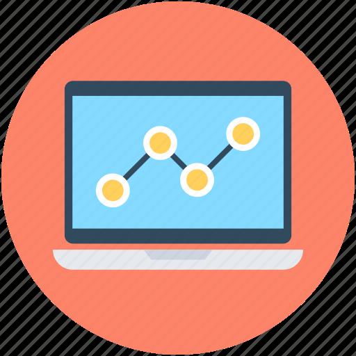 business graph, laptop, line graph, seo graph, statistics icon