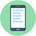 binary analysis, binary processed, mobile analysis, smartphone, technology icon