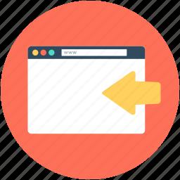 arrow, back arrow, browser, web page, website icon