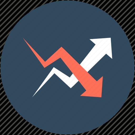 arrows, ascending arrow, descending arrow, growth arrow, loss arrow icon