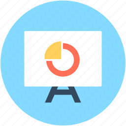 analytics, graph presentation, pie chart, pie graph, presentation icon