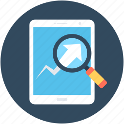 infographic, magnifier, magnifying lens, online graph, search graph icon