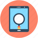 magnifier, magnifying lens, mobile, mobile search, searching by phone icon
