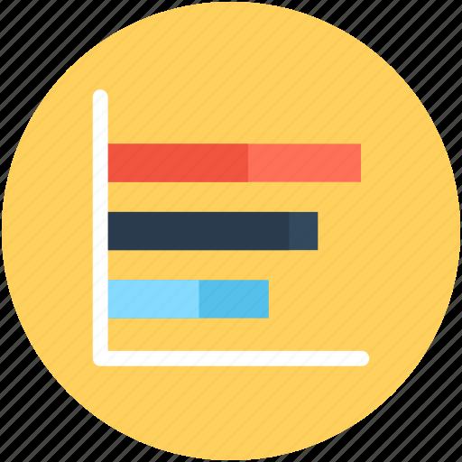 analytics, bar graph, graph, horizontal graph, statistics icon