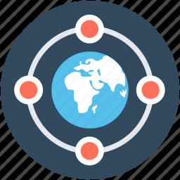 communication, globe, internet, internet server, network, secure internet icon