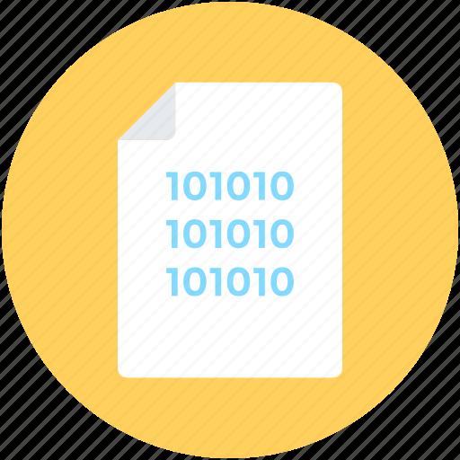 binary, binary sheet, coding, data management, programming icon