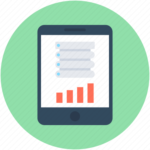 analytics, bar graph, mobile graph, mobile marketing, smartphone icon