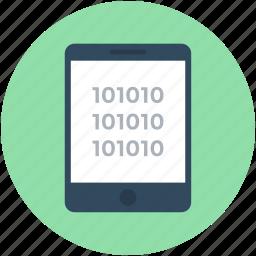 binary, coding, mobile development, mobile programming, smartphone icon