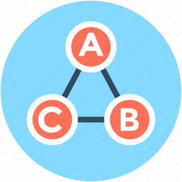abc, connected points, data analysis, data interconnect, triangle icon