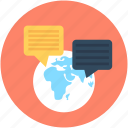 consultation, conversation, globe, speech bubbles, worldwide communication icon