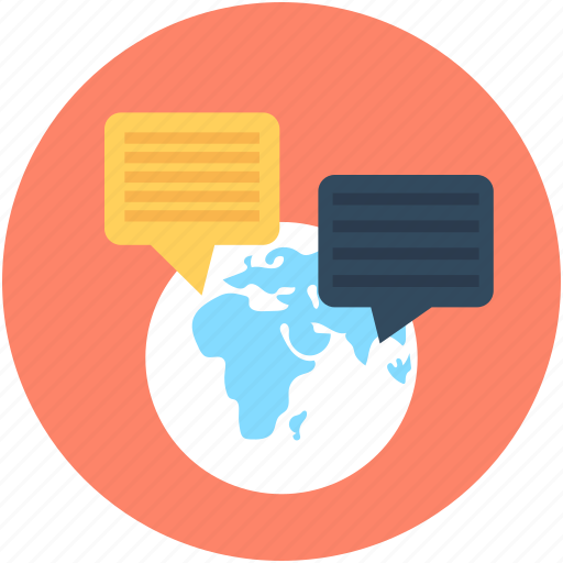 consultation, conversation, globe, speech bubbles, worldwide communication icon