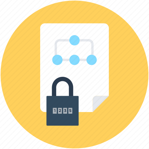 data safety, file, file security, locked file, protected document icon