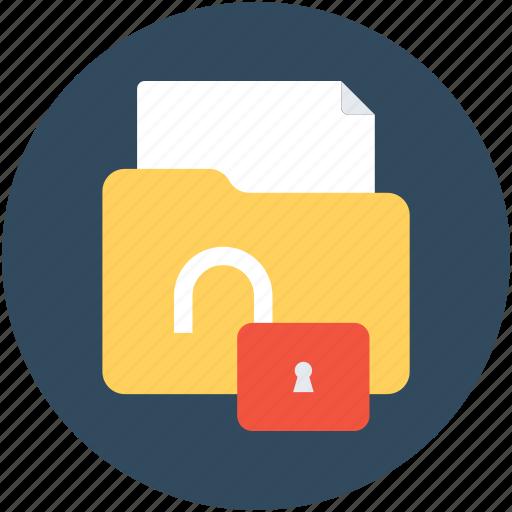 folder, folder access, folder security, open folder, unlock folder icon