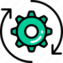 arrows, cog, data science, method, process icon