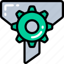 cog, data science, essentials, filering, funnel, process icon