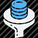 data, data science, essentials, filtering, funnel, storage icon