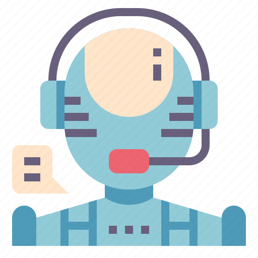 ai, artificial, customer, intelligence, robot, service, support icon