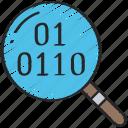 binary, data, data science, research, scientific, search icon