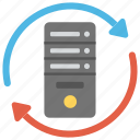 data storage, database synchronization, server backup, server hosting, server sync icon