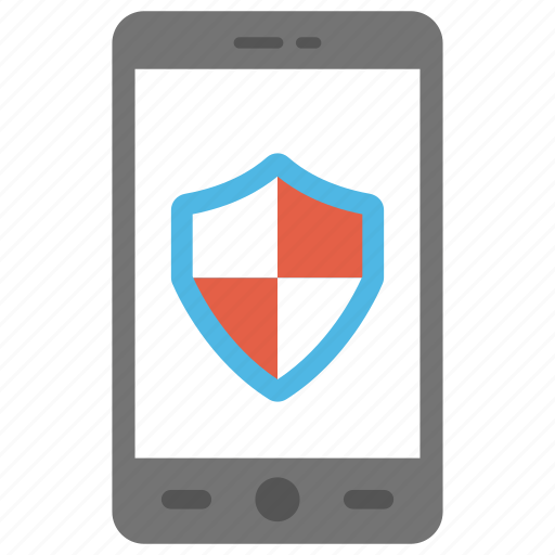 mobile antivirus protection, mobile data protection, mobile security, mobile shield, smartphone with shield icon