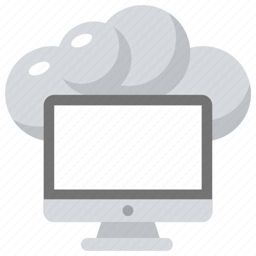 cloud computing, cloud storage concept, cloud technology, cloud with computer, internet connected computer icon
