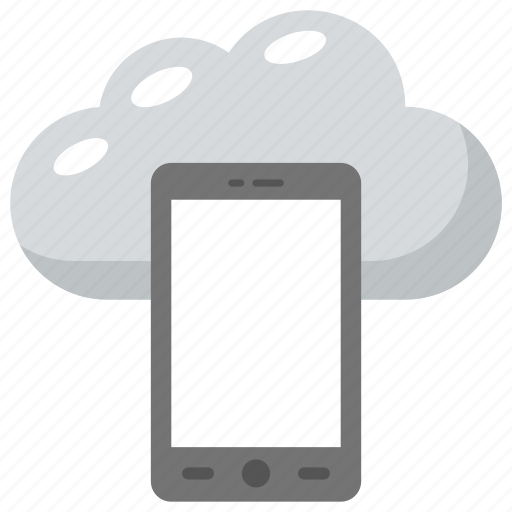 mobile cloud computing, mobile wireless network, mobile wireless technology, smartphone connected to cloud server icon
