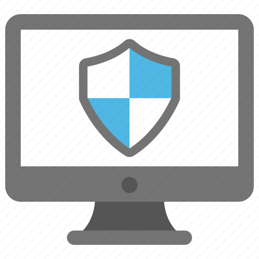 antivirus, computer safety concept, computer with shield, data protection, internet security icon