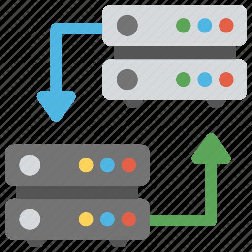 database, database storage, mainframe servers connected, server connected, web hosting icon