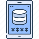 data, database, mobile, security, smartphone, storage icon