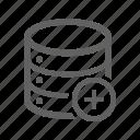 add, database, new, plus icon