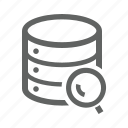 database, magnify, magnify glass, search icon