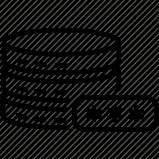 data, database, password, server, storage icon