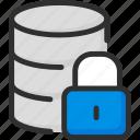 archive, data, database, lock, padlock, security, storage icon