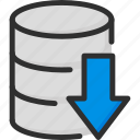 archive, arrow, data, database, down, download, storage