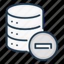data, database, delete, minus, remove, server, storage