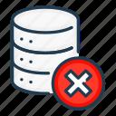 cross, data, database, delete, remove, server, storage