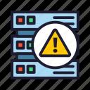data, database, servers, warning icon