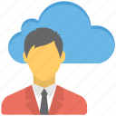 cloud man, remote businessman, remote employee, wireless consumer, wireless technology icon