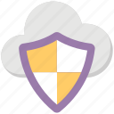 cloud computing concept, cloud shield, cloud storage protection, network security, wireless database protection icon