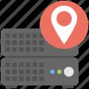data center, server hosting location, server location, web hosting location icon