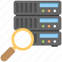 data visualization, database analysis, database management system, server scan, server with magnifier icon