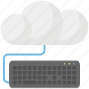 cloud computing concept, cloud hosting, cloud technology, cloud with keyboard, wireless technology concept icon