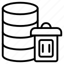 database, delete, server, storage, trash icon