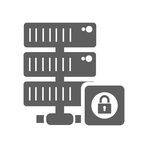 database, hosting, lock, network, secure, server icon