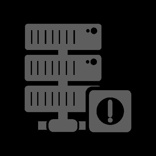alert, database, hosting, network, server icon