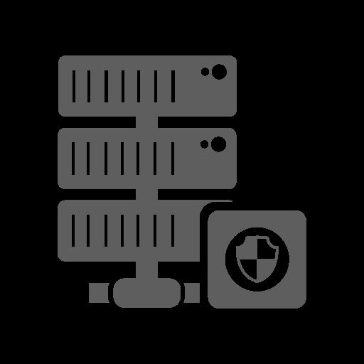 database, hosting, network, protection, server, shield icon