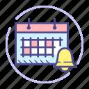 alarm, bell, calendar, date, event, month, schedule