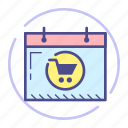 calendar, cart, schedule, shopping